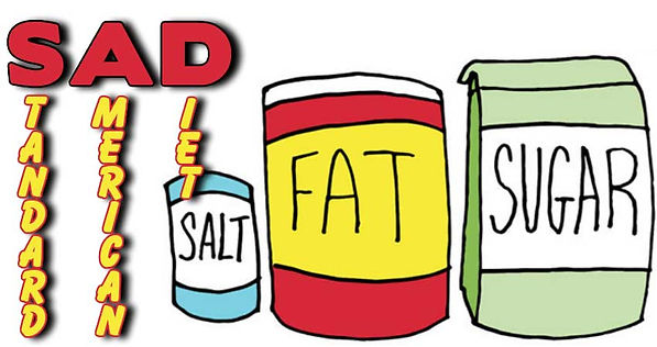 Standard American Diet, Salt, Fat and Sugar.