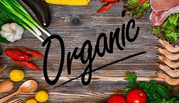 Variety of vegetabels, fruits and meats all organic on a table. Organic vs. Conventional