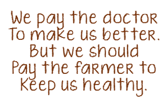 Why Organic Quote: We pay the doctor to make us better, But we should pay the farmer to keep us healthy.