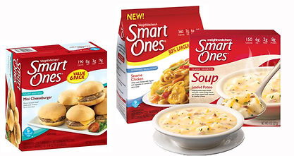 Boxes and a bowl of soup from Weight Watchers Smart Ones.