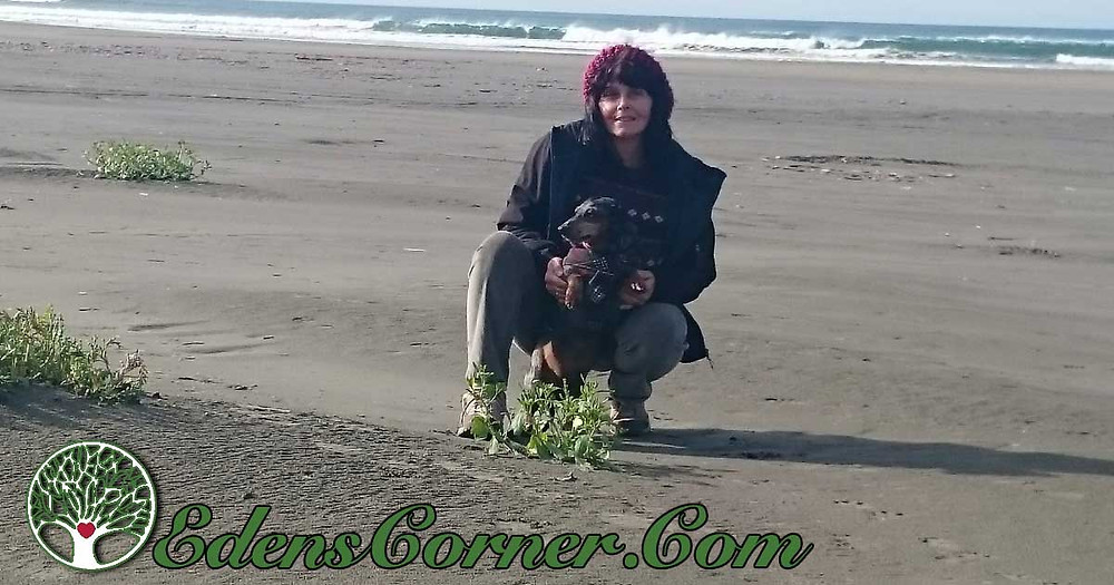 Reni with Scampy at beach