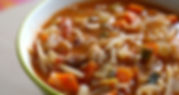 Bowl of hot Minestrone Soup by Eden's Corner.