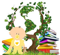 Tree and grass with a little baby and books