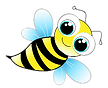 Friendly little honey bee with big eyes.