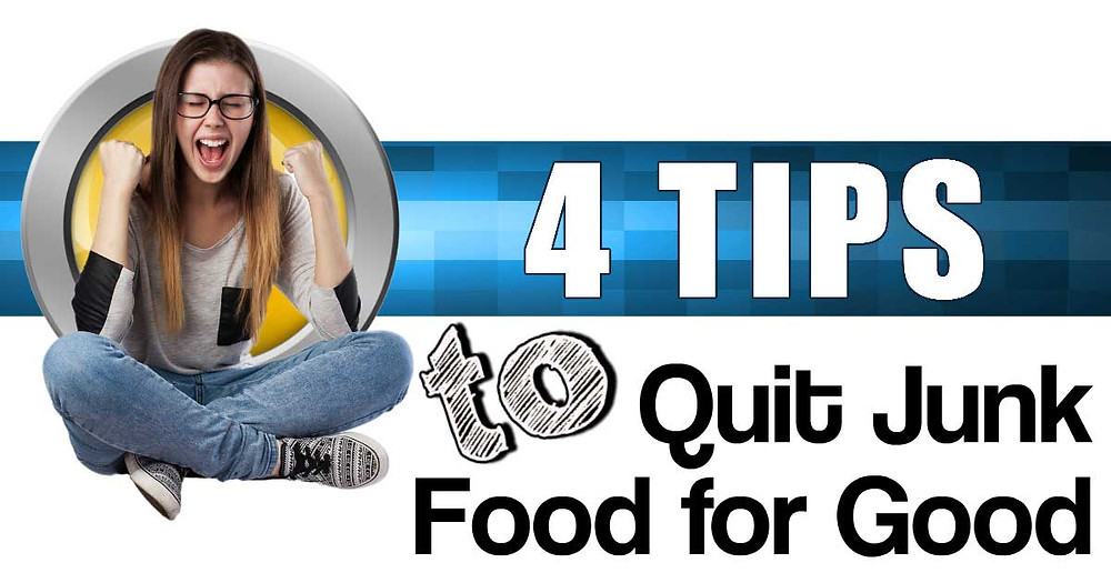 Girl saying yes with excitement about 4 tips to quit junk for good
