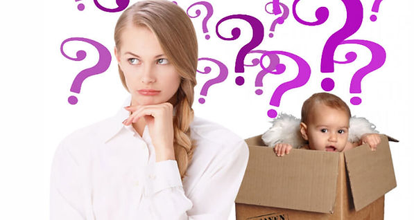 Woman with lots of question marks, baby in a delivery box smiling.