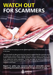 Watch Out For Scammers Poster