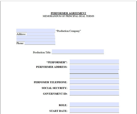 Performer Agreement Form (Non-Union)