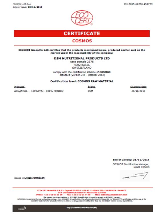 Certification of Argania Spinosa Ker