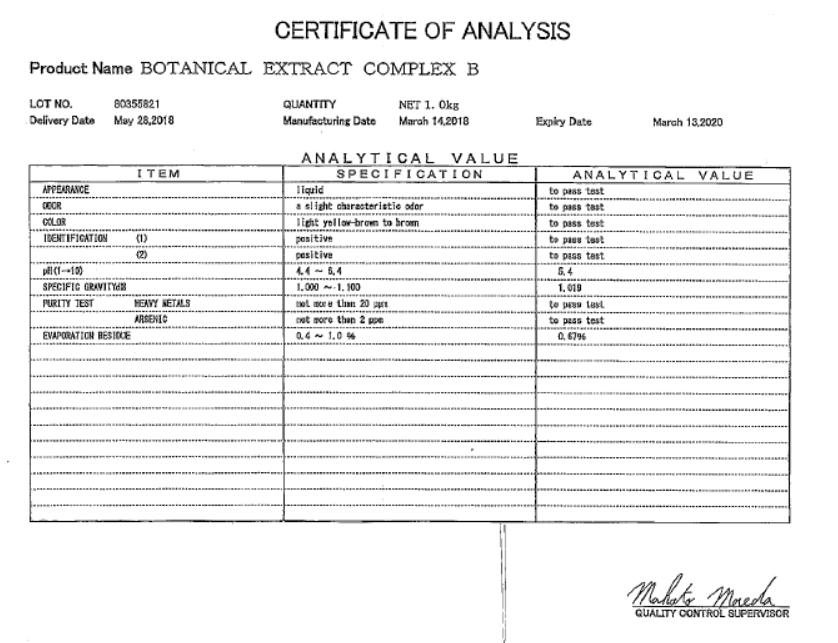 Analytical of Botanical Extract Comp