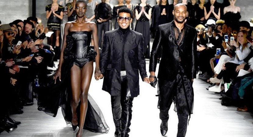 David Tlale walking the end of his show at NYFW 2013