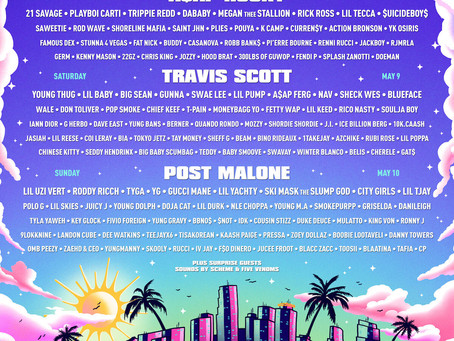 2020 Rolling Loud Miami Lineup Headliners Travis Scott, A$AP Rocky and Post Malone