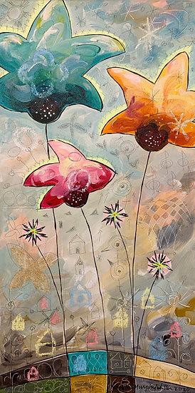 """Star Flowers B""    20 x 10"
