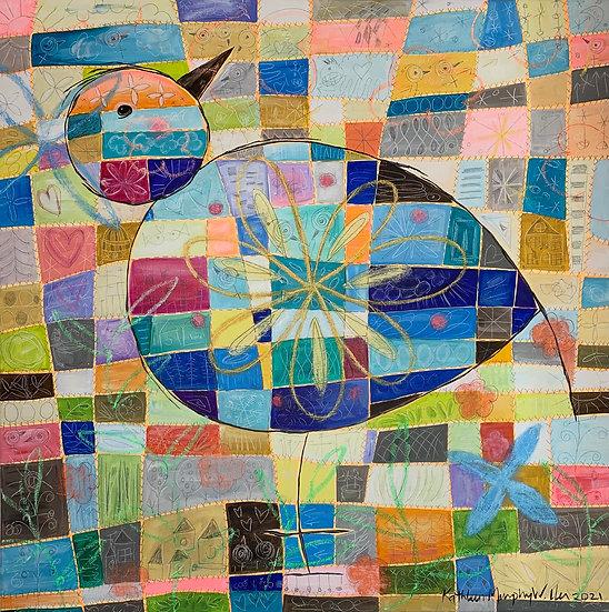 """Quilted Bird"" 30x30"