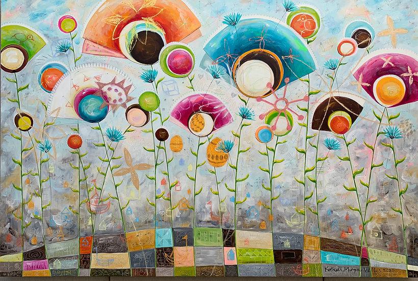 """""""Dandelion Fan Flowers""""       48 x 72"""