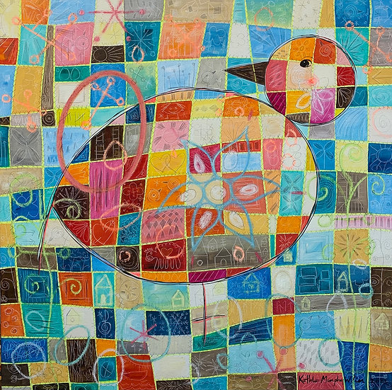 """Quilted Bird With Egg 30""""x 30"""""""