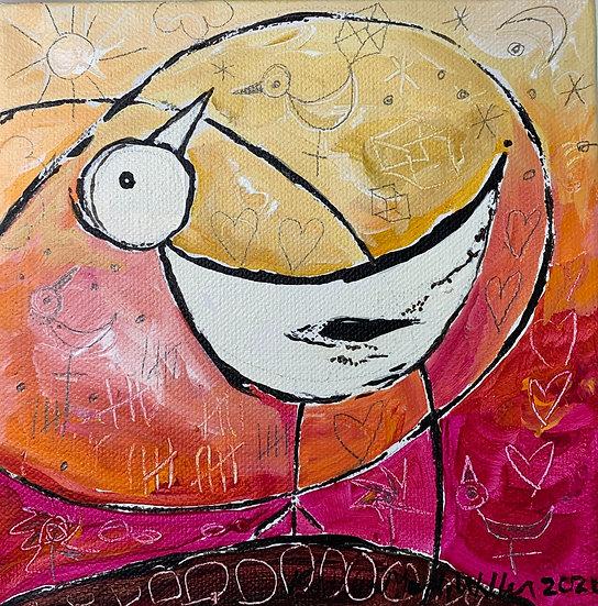 """Moon Bird A"" 6x6"