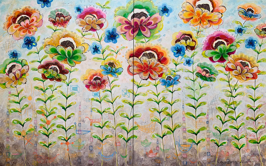 """""""Textile Flowers With Boats"""" 60x96 Diptych"""