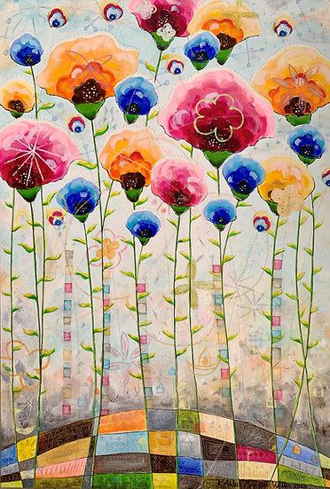 """""""Tall Garden Flowers""""       60 x 40"""