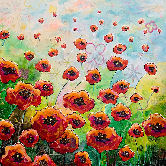 """Stitched Poppies""  40x40"