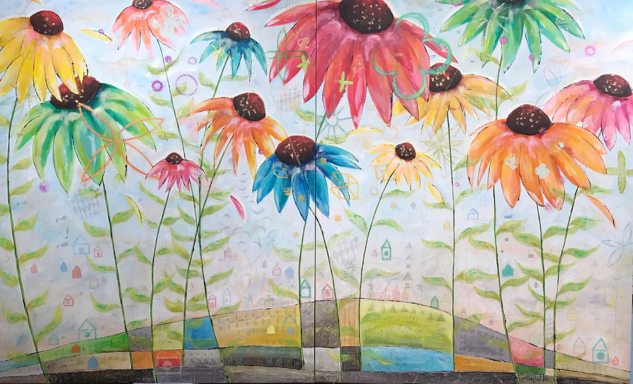 """Coneflower Painting""       60 x 96 Diptych"
