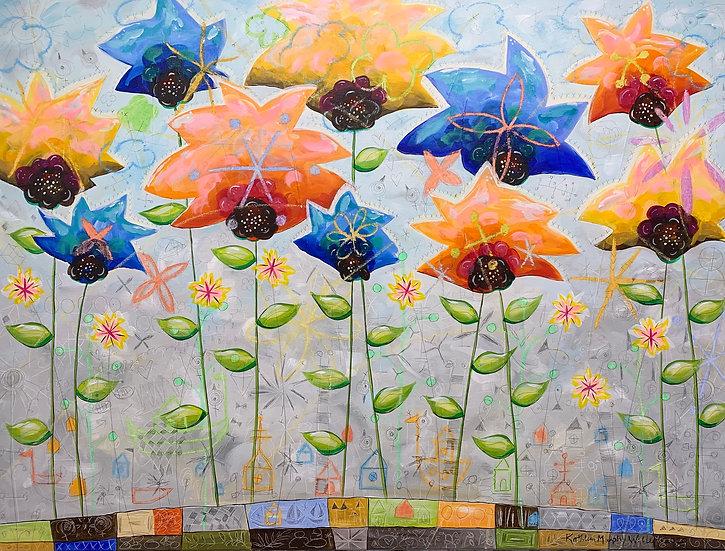 """""""Star Flowers""""  36 x 48"""