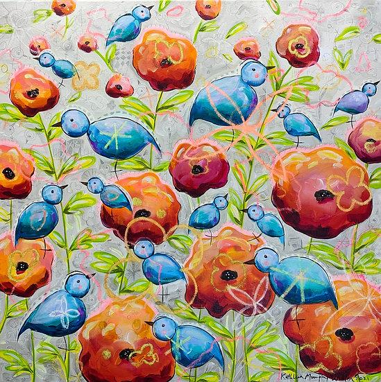 Blue Birds & Poppies 30x30