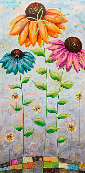 """Three Coneflowers"" 48x24"