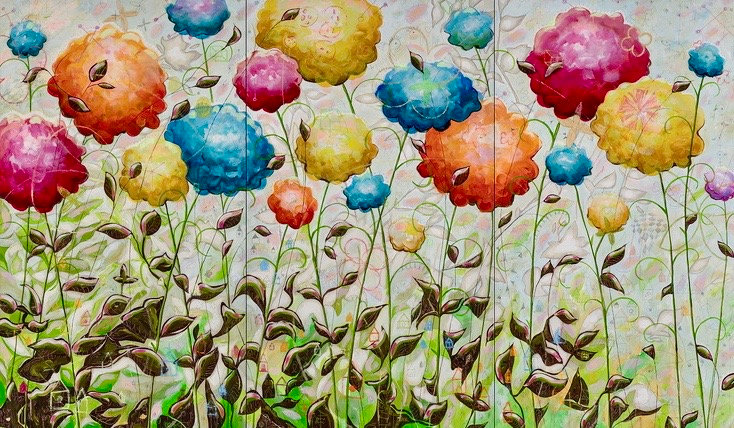 """Garden Flowers""  64x108 Triptych"