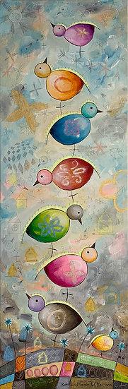 """Tall Bird Stack""  36 x 12"