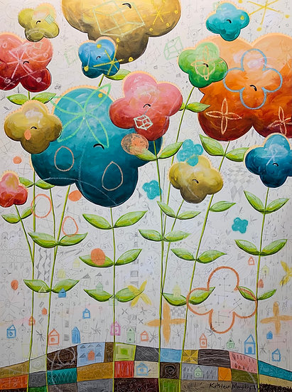 """Quatrefoil Garden"" 48x36"