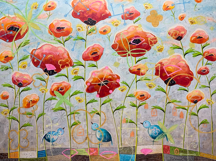 """""""Poppies With 3 Blue Birds""""  36 x 48"""