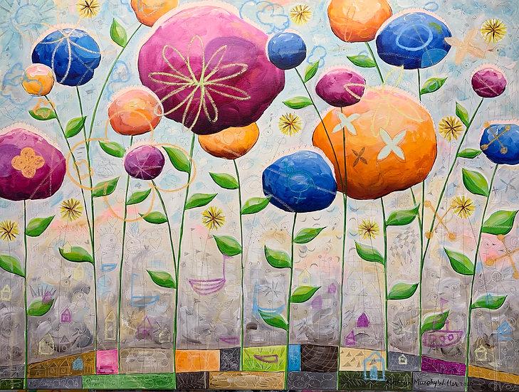 """Big Bright Flowers""  36 x 48"