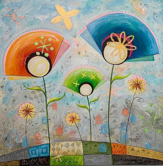 """""""Dandelion Fan Flowers""""   20 x 20"""