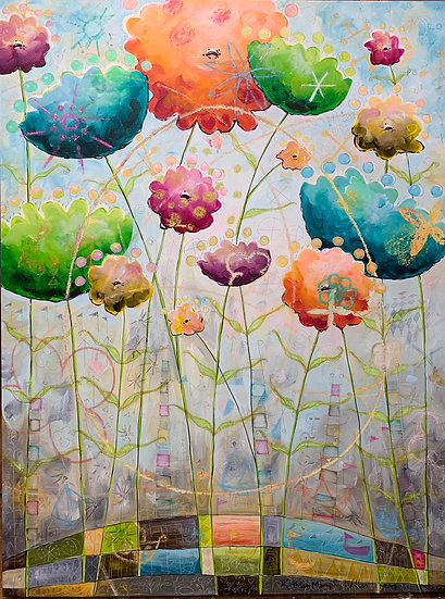 """Tall Queen Anne's Lace (With Egg)"" 48x36"