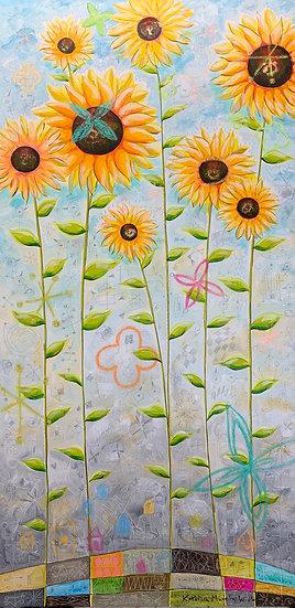 """Imagined Sunflowers"" 48x24"