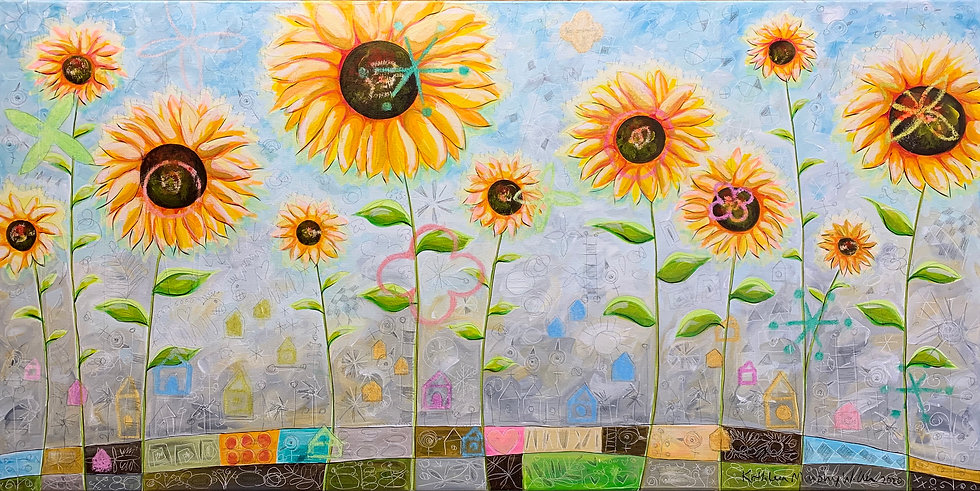 """Imagined Sunflowers"" 24x48"