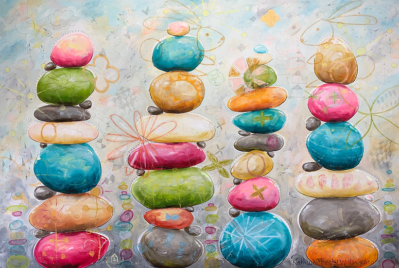 """Rock Stacks (With Yard Bunnies)""       40 x 60"