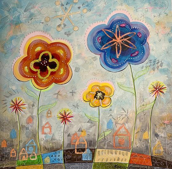 """Three Flowers""  20 x 20"