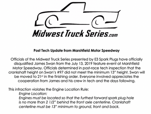 Marshfield Motor Speedway Post-Race Technical Inspection Update