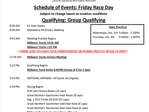 Midwest Truck Series Schedule of Events for Octoberfest