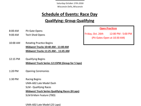 Midwest Truck Series Schedule of Events for The Falloween race.