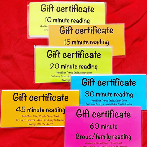 Gift Certificate for 1 hour Private Reading with Alicia