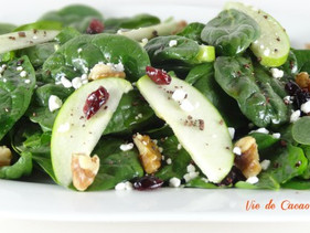 Spinach Apple Walnut Salad Featuring Cacao Nib Vinaigrette