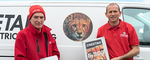 Jim George founder of Cheta Electronics and Padraic George the son of Jim who is now the Managing Director of Cheetah Electric Fencing