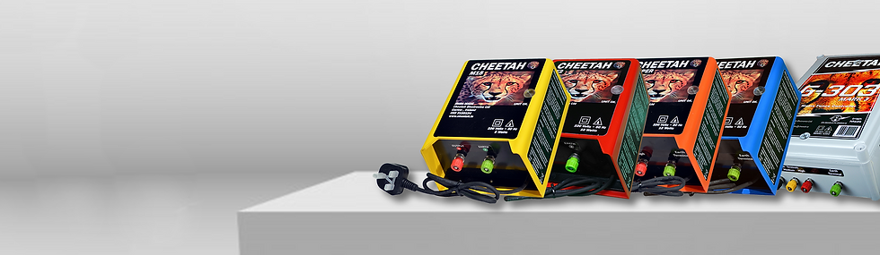 Cheetah electric fence energisers all mains powered 220v fencers. Cover a huge 300 acres of electric fence lines.