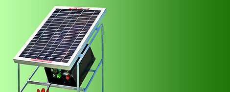 A solar stand for powered 12V battery electric fence units. Prolongs the life of the battery throughout the grazing season.