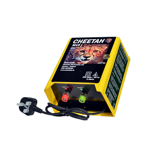 Front/Side view of the Cheetah M15 mains energiser 220v with one power output for 10 acres