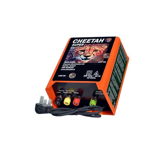 Cheetah Super energiser front/side view with 3 power outputs, high, medium and low for more control over your fence line.