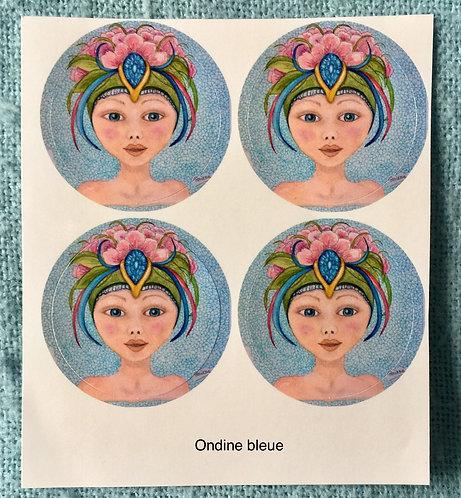 Stickers ronds «Ondine bleue»